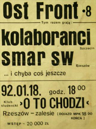 Concert SMAR SW - OST FRONT #8 - Rzeszów - O to chodzi - 18.01.1992
